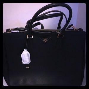 100% Authentic New Prada Black Saffiano Galleria